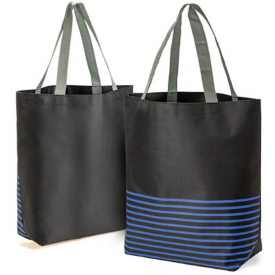 The Avenue Tote bag with blue stripes and carry handles.