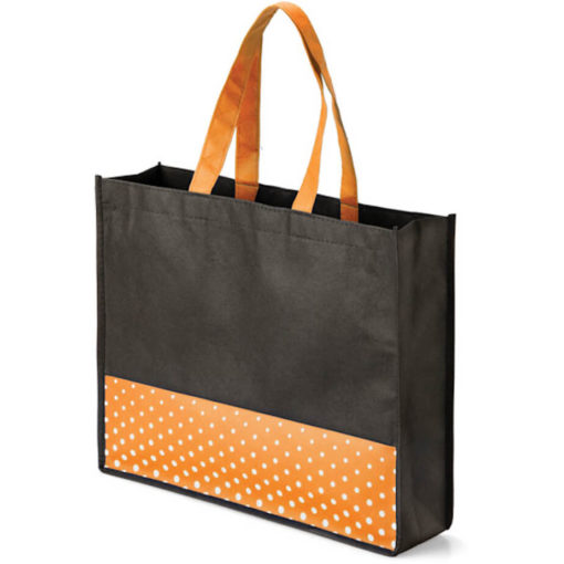 The Viva Tote bag with a orange colour polka dot pattern made from non woven material.