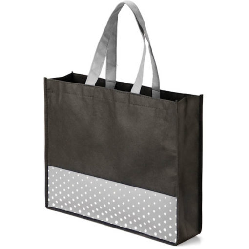 The Viva Tote bag with a grey colour polka dot pattern made from non woven material.