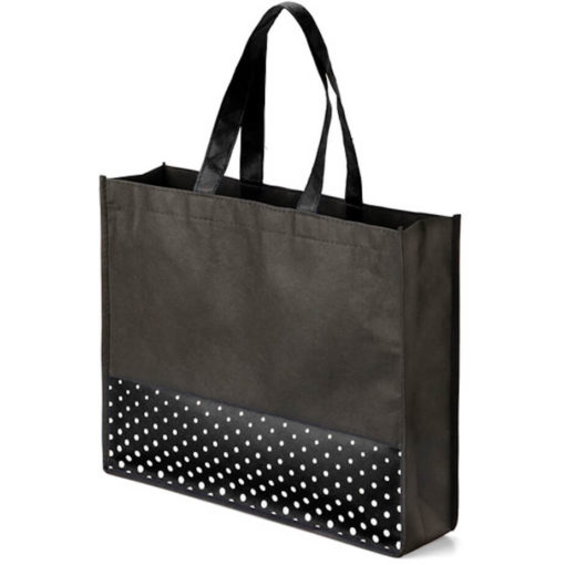 The Viva Tote bag with a black polka dot pattern made from non woven material.