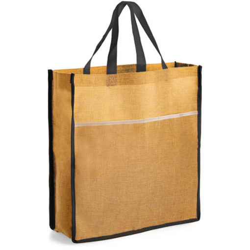 The Mega Tote made from faux jute material in the colour natural