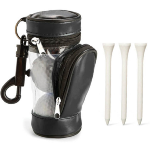 3 golf balls and 3 tees in a black and transparent bag with a black carbiner clip.