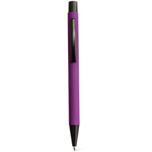 The Omni Ballpoint Pen in the colour purple, with a rubber finish and in black ink.