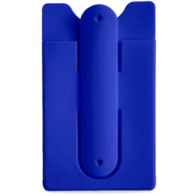 Blue Phone rectangular phone holder with three curved point edges at top. Phone stand silicone at the back with a slide in area for a card underneath