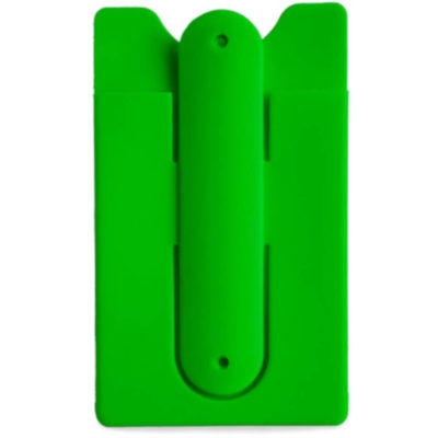 Lime Green Phone rectangular phone holder with three curved point edges at top. Phone stand silicone at the back with a slide in area for a card underneath