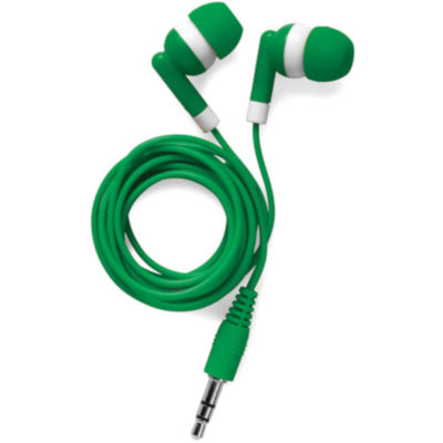 Green set of earphones with white band around ear pieces