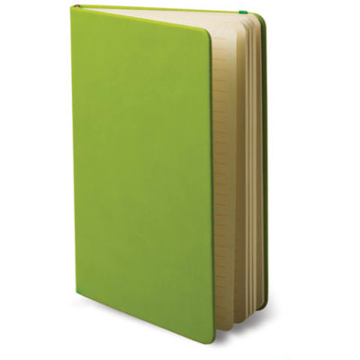 The A5 Snapper Notebook in the colour lime green, made from artificial leather.