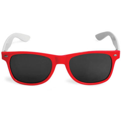 Red framed RayBan looking sunglasses with white arms and black lenses.