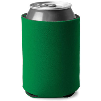 Green cylindrical shaped can cooler made from sponge and polyester