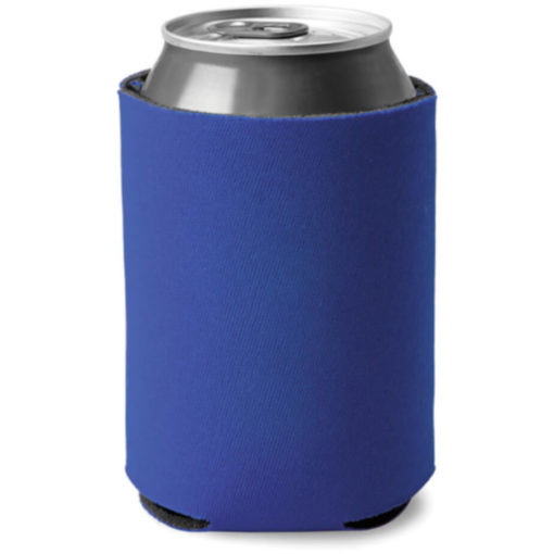 Blue cylindrical shaped can cooler made from sponge and polyester