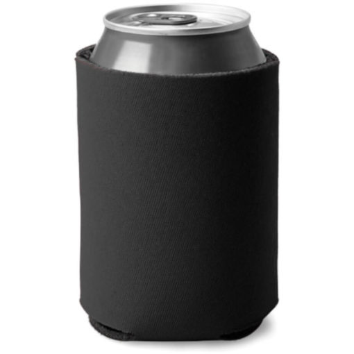 Black cylindrical shaped can cooler made from sponge and polyester