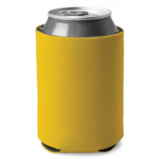 Yellow cylindrical shaped can cooler made from sponge and polyester