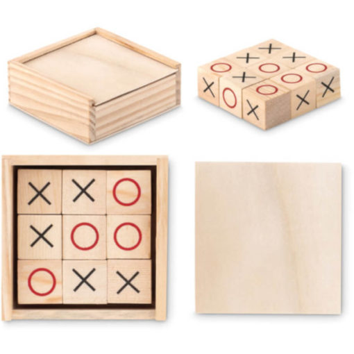 Box with Tic Tac Toe game set inside box and outside box.