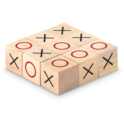 Tic Tac Toe wooden square blocks with red circles and black crosses