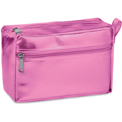 The Simply Seek Vanity bag in the colour pink, with two zipped compartments.