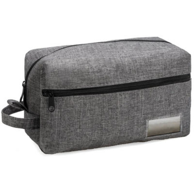 The Tekie Vanity Bag in the colour grey and with two zipped compartments.