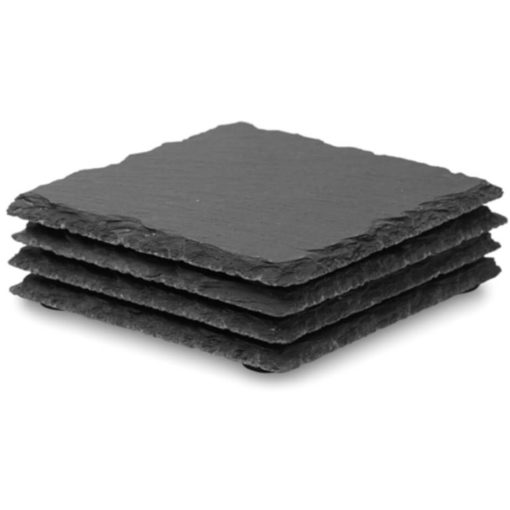 4 square pieces of slate coasters stacked on top of each other.