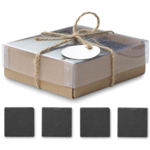 Closed brown box with brown string and 4 coasters underneath in a line