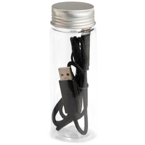 The JumpWire Charging Cable in the colour black, and comes with a tube container.
