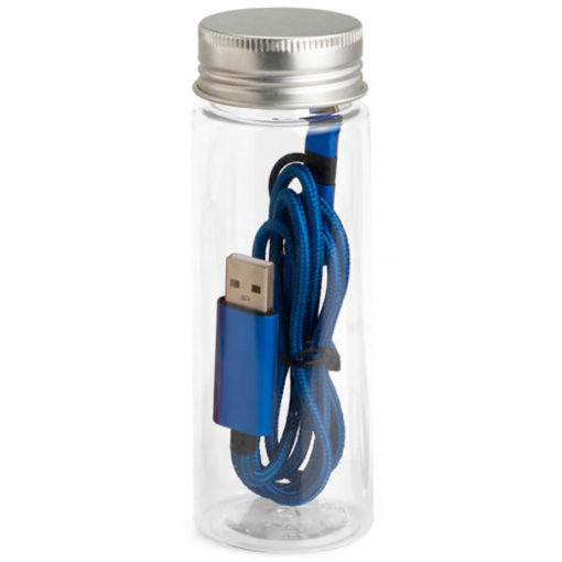 The JumpWire Charging Cable in the colour royal blue, and comes with a tube container.