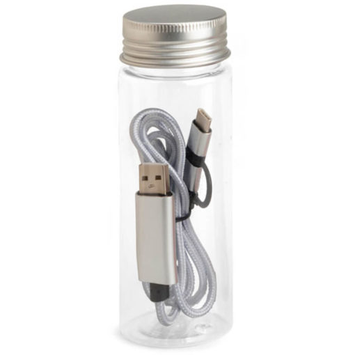 The JumpWire Charging Cable in the colour silver, and comes with a tube container.