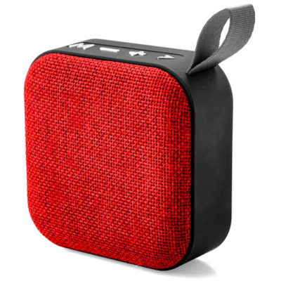 A Huron Bluetooth Speaker in the colour red with USB charging cable included.