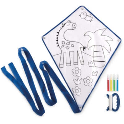 Empty kite with giraffe and a palm tree with flowers on the picture. Blue ribbon and blue lining.
