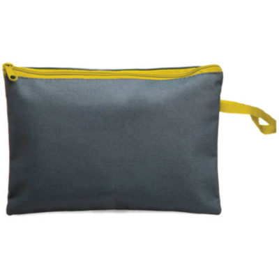 The Carly Universal Pouch is a rectangular greyish pouch with yellow zip. Big enough to hold stationery or make up.
