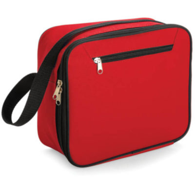Red lunch bag cooler comes with a front zip, main zip compartment and black strap. Sleek look.