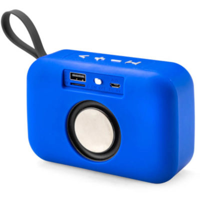 The Havoc Bluetooth Speaker is an royal blue ABS and polyester rectangular shaped speaker with white top-panel function buttons, a carry loop, USB port, 10m working distance and includes a USB charging cable