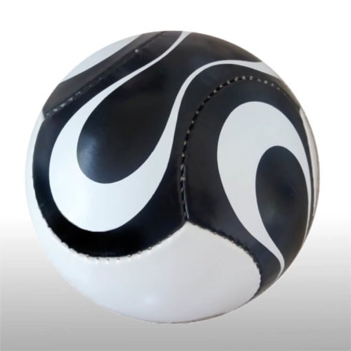 The 6 Panel Mini Soccer Ball is a poly cotton and rubber sports ball with a high air rention blasser. Available in black and white