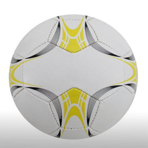 The 28 Panel Black and White Soccel Ball is a poly cotton and rubber soccer ball with four larger sezied panels for branding purposes. Available in white with black fineline detail with a splash of yellow on alternating panels