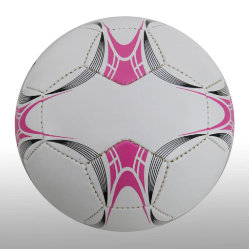 The 28 Panel Black and White Soccel Ball is a poly cotton and rubber soccer ball with four larger sezied panels for branding purposes. Available in white with black fineline detail with a splash of pink on alternating panels
