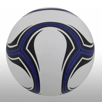 The Black and White Soccer Ball is a poly cotton and rubber ball with a butyl bladder. Avaiulable in what with black design and a solid blue design features around the ball