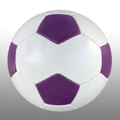 The Promotional Soccer Ball is a 28 panel poly cotton and rubber ball with a high air retention butyl bladder. Available in white with alternating purple panel inserts. Four panels are larger in size for branding purposes