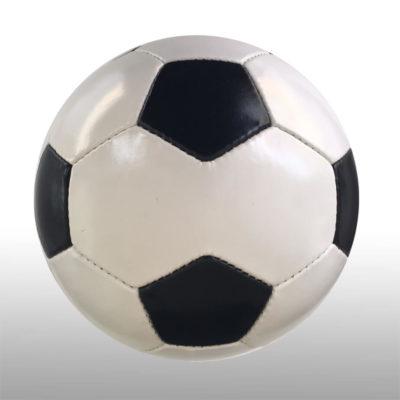 The Promotional Soccer Ball is a 28 panel poly cotton and rubber ball with a high air retention butyl bladder. Available in white with alternating black panel inserts. Four panels are larger in size for branding purposes