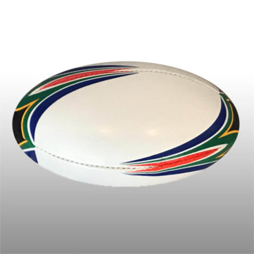 The SA Midi Rugby Ball is a 3 ply poly cotton and rubber ball, available in white with South African flag colour detail on the rounded edge of the ball