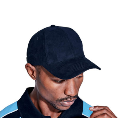 The 6 Panel Cello Cap in navy on display