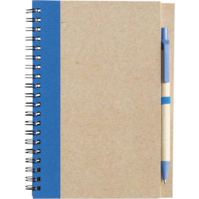 The Recycled Spiral Notebook and Pen Has A Rectangular Shaped Notebook With A Trim And Spiral Metal That Connects The Pages. The Pen Is Recycled Material And Matchhes The Trim On The Notebook In Pale Blue.