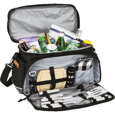 The Cooler Bag with Braai Set includes a Padded heat sealed interior, 2 Side zippered pockets, 2 Backside pockets, 1 Front pocket and braai utensils