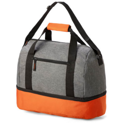 The Arena Double Decker Bag is a grey shoulder bag with contrasting orange base panel storage compartment and matching carry handle protector, A main zipped compartments and a front zip compartment with a adjustable shoulder strap and double carry handles.