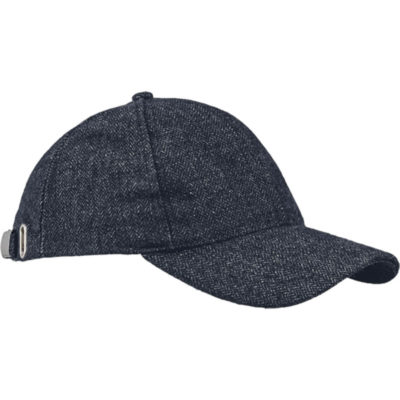 The 6 Panel Thistle Cap is a Navy-Grey polyester wool peak cap with 6 structured panels, a low profile and pre curved peak