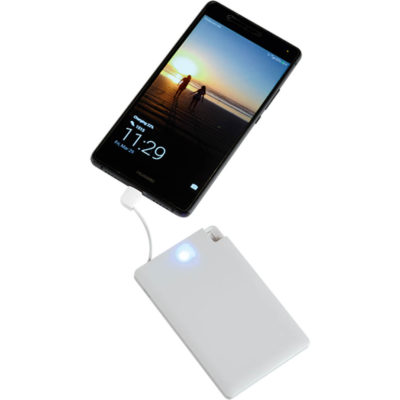 The Card Style Powerbank has a slim design with a integrated charging cable and a capacity of 2200mAh.