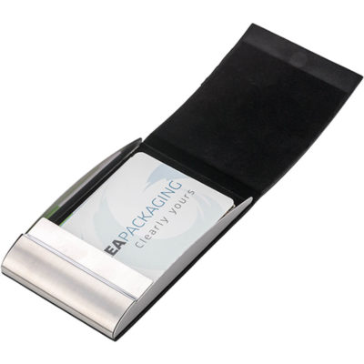 The Business Card Case With PU Finish has a magnetic closure, and a vertical curved design. Available in the colour blue.