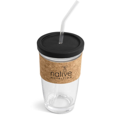 the Kooshty Kork Glass Smoothie Kup & Straw is a clear borosilicate glass cup with a matching straw and a natural cork sleeve to fit around the glass. With a food grade silicone lid thats easy to remove and holds the straw securely.