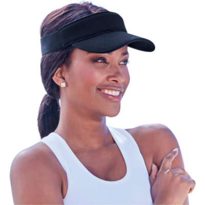 The Miami Visor is a polyester ottoman fabric visor with a pre curved visor, padded front panel for comfort and an elasticated headband