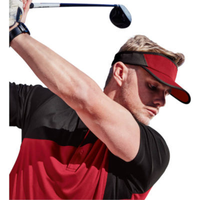 The Serve Visor is a polyester microfibre red visor with a pre curved peak and velcro closure. With contrasting black mesh insert panels and visor trim detail