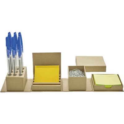 The Cardboard Office Organiser has a holder for 9 pens, a compartment for your paper clips, sticky notes and business cards.