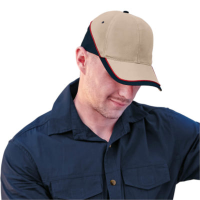 The 6 Panel Trio Cap is a heavy brushed cotton peak cap with a structured 6 panel body and velcro closure