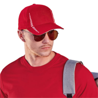 The 6 Panel Empire Cap in red with contrasting white detail, on display